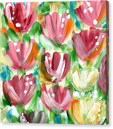 Abstract Expressionist Canvas Print - Delightful Tulip Garden by Linda Woods