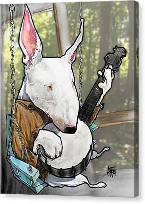 Deliverance Bull Terrier Caricature Art Print Canvas Print by John LaFree