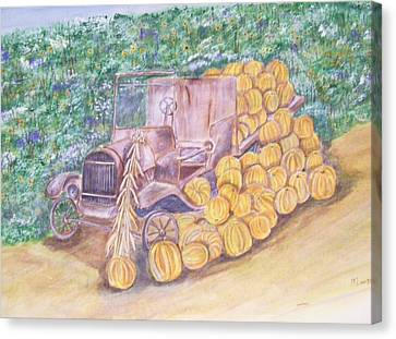 Delivering The Pumpkins Canvas Print by Belinda Lawson