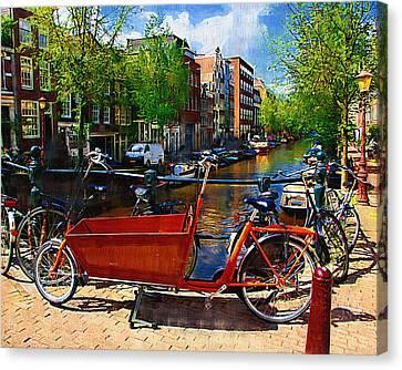 Delivery Bike Canvas Print by Tom Reynen