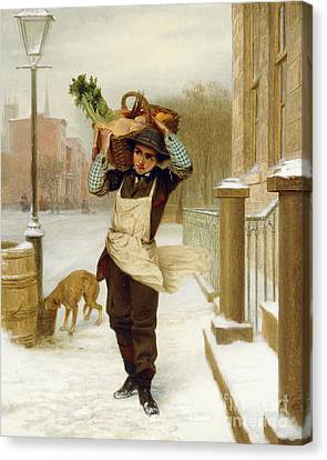 Delivery Boy  Canvas Print by John George Brown