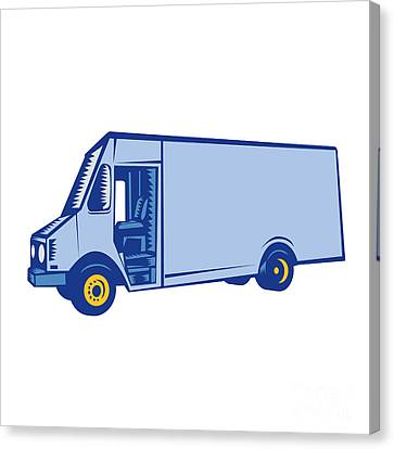 Delivery Van Side Woodcut Canvas Print