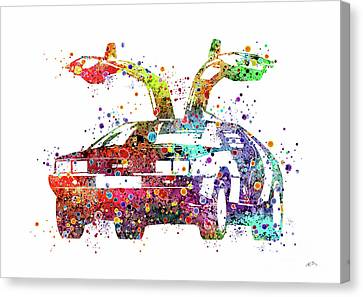 Delorean 1980 Watercolor Print Canvas Print by Svetla Tancheva