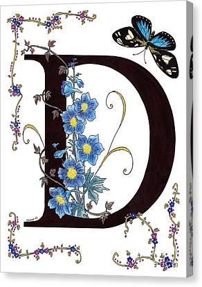 Delphinium And Doris Butterfly Canvas Print by Stanza Widen