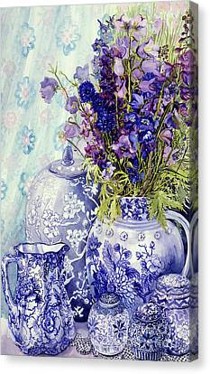 Ceramic Canvas Print - Delphiniums With Antique Blue Pots by Joan Thewsey