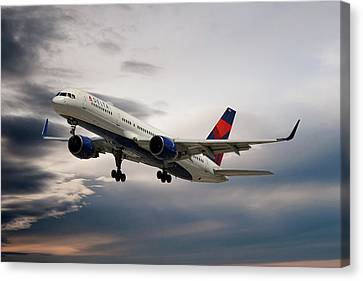 Airlines Canvas Print - Delta Air Lines Boeing 757-26d by Nichola Denny