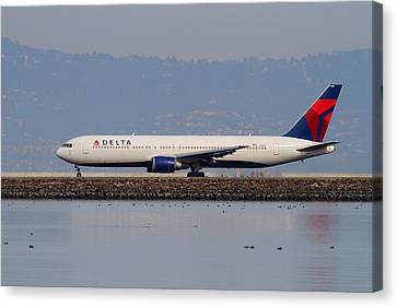 Delta Airlines Jet Airplane At San Francisco International Airport Sfo . 7d12111 Canvas Print by Wingsdomain Art and Photography