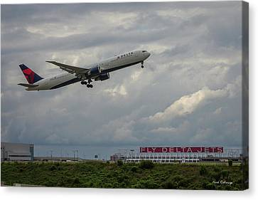 Klm Canvas Print - Delta Airlines Jet N836mh Hartsfield Jackson International Airport Art by Reid Callaway