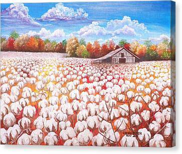 Delta Cotton Field With Webb's Barn Canvas Print by Cecilia Putter