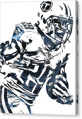 Canvas Print featuring the mixed media Demarco Murray Tennessee Titans Pixel Art 2 by Joe Hamilton