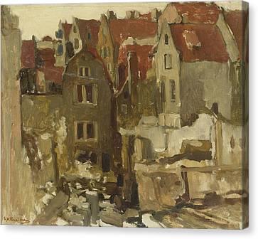 Demolition Of The Grand Bazar De La Bourse In Amsterdam At The Nieuwendijk Canvas Print by George Hendrik Breitner