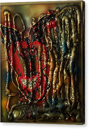Canvas Print featuring the painting Demon Inside by Lisa Piper