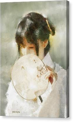 Canvas Print featuring the digital art Demure by Greg Collins