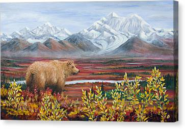 Denali Highway Visitor Canvas Print by Dee Carpenter