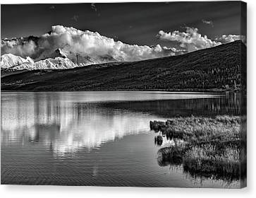 Denali Reflections In Black And White Canvas Print by Rick Berk