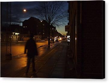 Denmark, Copenhagen, Man Walking Canvas Print by Keenpress