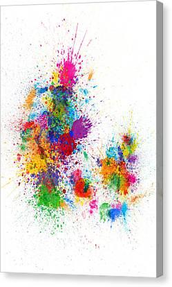 Denmark Canvas Print - Denmark Map Paint Splashes by Michael Tompsett