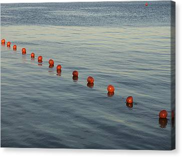 Denmark Red Safety Balls Floating Canvas Print by Keenpress