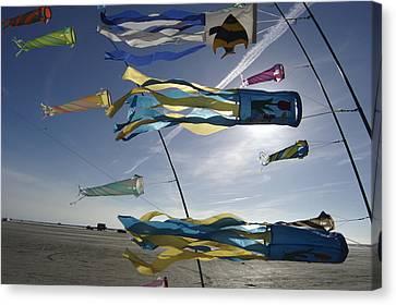 Denmark, Romo, Kites Flying At Beach Canvas Print by Keenpress