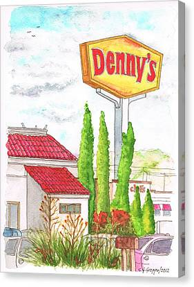 Denny's Coffee Shop In Barstow, California Canvas Print