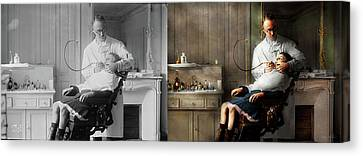 Canvas Print featuring the photograph Dentist - Good Oral Hygiene 1918 - Side By Side by Mike Savad