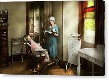 Canvas Print featuring the photograph Dentist - Patients Is A Virtue 1920 by Mike Savad