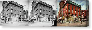 Canvas Print featuring the photograph Dentist - Peerless Painless Dental Parlors 1910 - Side By Side by Mike Savad