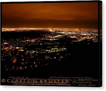 Denver Area At Night From Lookout Mountain Canvas Print by Clayton Bruster