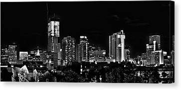 Denver At Night In Black And White Canvas Print