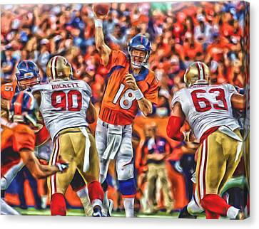 Denver Broncos Peyton Manning Oil Art Canvas Print