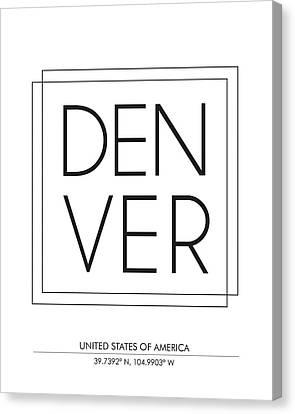 Denver City Print With Coordinates Canvas Print