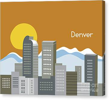 Denver Colorado Horizontal Skyline Print Canvas Print by Karen Young