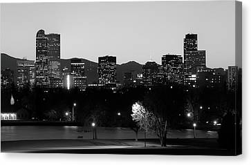 Canvas Print featuring the photograph Denver Colorado Mountain Skyline Black And White by Gregory Ballos