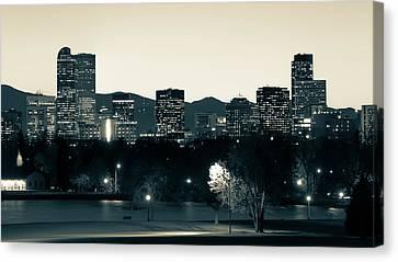Canvas Print featuring the photograph Denver Colorado Mountain Skyline In Sepia by Gregory Ballos