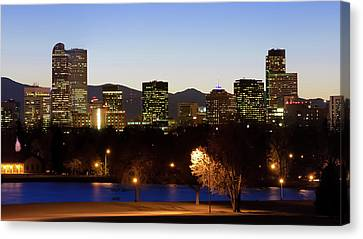 Canvas Print featuring the photograph Denver Colorado Skyline Blues by Gregory Ballos
