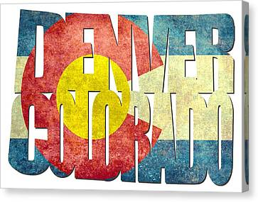 Denver Colorado Typography - State Flag Canvas Print by Gregory Ballos