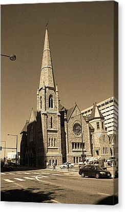 Canvas Print featuring the photograph Denver Downtown Church Sepia by Frank Romeo
