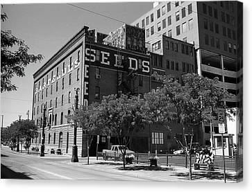 Denver Downtown Warehouse Bw Canvas Print by Frank Romeo