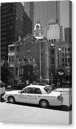 Denver Downtown With Yellow Cab Bw Canvas Print by Frank Romeo