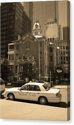 Canvas Print featuring the photograph Denver Downtown With Yellow Cab Sepia by Frank Romeo