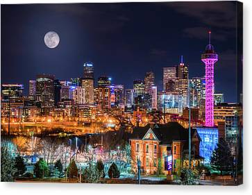 Canvas Print featuring the photograph Denver Moon by Darren White