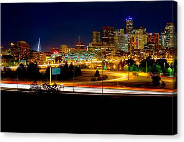 Denver Night Skyline Canvas Print by James O Thompson
