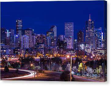 Denver Skyline At Night - Colorado Canvas Print