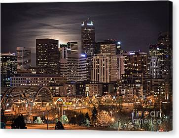 Denver Skyline At Night Canvas Print