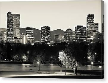 Denver Skyline - City Park View - Cream Sepia Canvas Print by Gregory Ballos