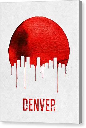 Colorado Landmarks Canvas Print - Denver Skyline Red by Naxart Studio