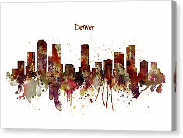 Denver Skyline Silhouette Canvas Print