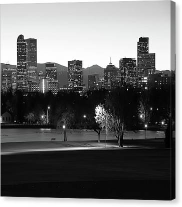 Canvas Print featuring the photograph Denver Skyline Square Format - Black And White by Gregory Ballos