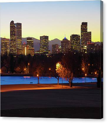 Canvas Print featuring the photograph Denver Skyline Square Format - Colorful by Gregory Ballos