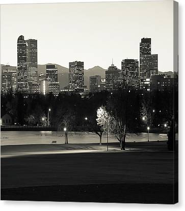 Canvas Print featuring the photograph Denver Skyline Square Format - Monochrome by Gregory Ballos
